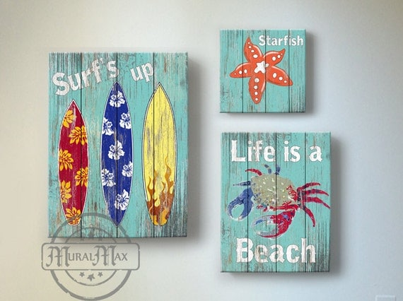 surf kids room decor beach wall art vintage kids beach. Black Bedroom Furniture Sets. Home Design Ideas