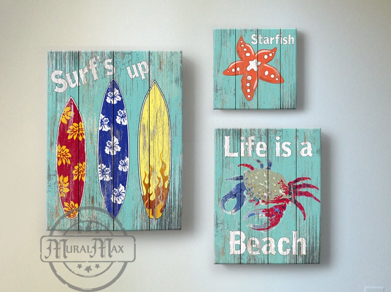 Surf Kids Room Decor Beach Wall Art Vintage Kids Beach: vintage childrens room decor