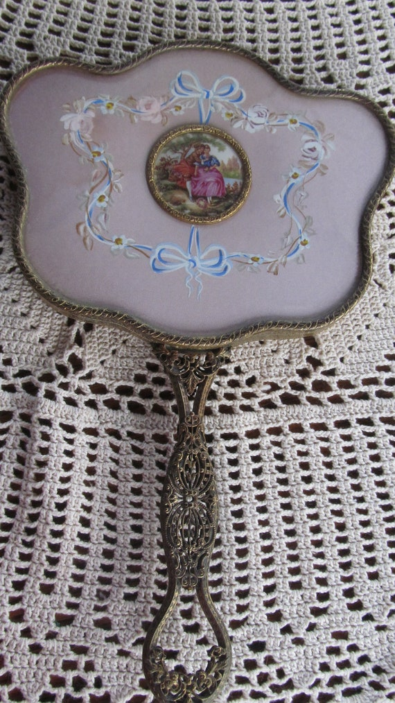 Rare French Limoges Antique Hand Held Vanity By