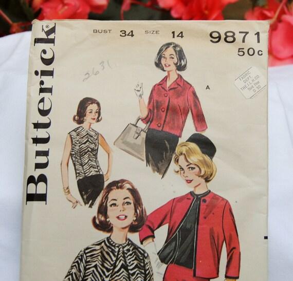 Vintage Butterick 9871 - Pattern Uncut - Jacket & Overblouse, Size 14 - 1960's - Rare, Fabulous