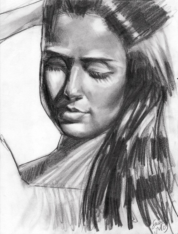 Original pencil drawing woman looking down for How to draw a girl looking down