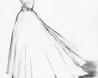 Popular Items For Wedding Gown Drawing On Etsy