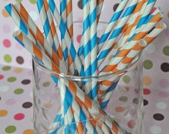 Paper Straws - Orange and Blue Striped Party Straws and Coordinating DIY Straw Flag PDF