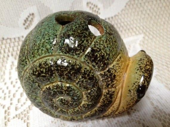 CLEARANCE Vintage Japanese Ceramic Incense Burner, Green Snail Incense Holder, Miniature Snail