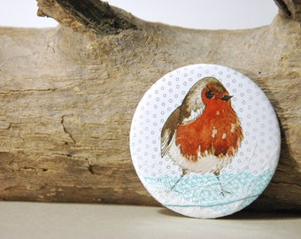 Robin pocket mirror - Watercolour & mixed-media- Perfect Christmas stocking filler
