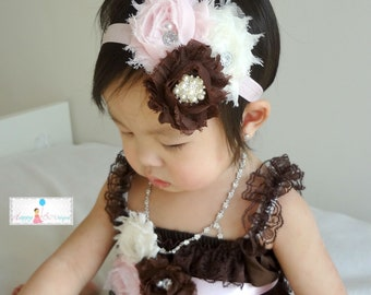 Trio Shabby Cluster headband Brown Pink and Ivory, Baby girl headband, newborn headband, Photography photo props, M2M Petti Rompers,