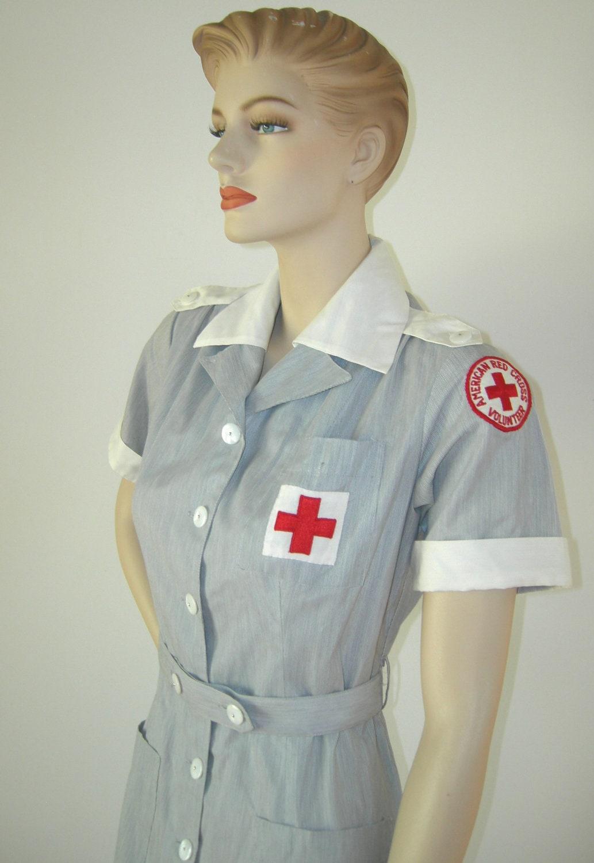 White pinafore apron nurse - Wwii Vintage 40s 50s American Red Cross Volunteer Nurse Uniform Dress Matching Hat Patch