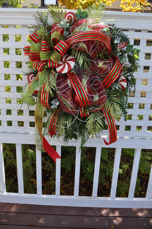 Deco mesh wreaths xl christmas front door wreath wreaths full for Front door xmas wreaths