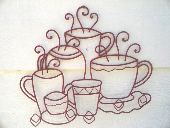 Red Metal Wall Decor: Kitchen Wall Decor/Red/Metal/Cast Iron/Wall Art/Hot Coffee