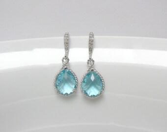 light blue earring , cz aquamarine earring , bridesmaid silver earring , blue drop earring , drop aqua earring