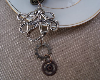 Steampunk style Octopus necklace