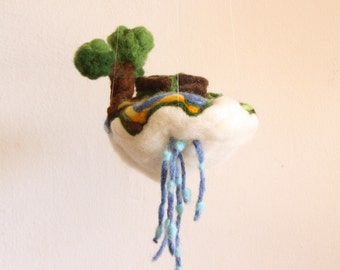 Felted Wishing Well, Rustic Baby Crib mobile ornament, Jewelry Pillow, house warming gift, collectible toy, waldorf tree, felted story toys