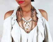 Gold statement necklace, dramatic bib necklace