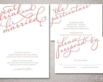 """Eat, Drink, And Be Married Calligraphy """"Lindsey"""" Wedding Invitations Suite - Whimsical Modern Script - Printable or Printed Invitation"""