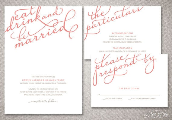 Wedding Invitations Eat Drink And Be Married: Eat Drink And Be Married Calligraphy Lindsey