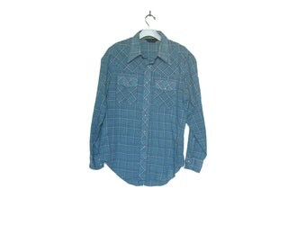 Men's VIntage Western Plaid Work Shirt Large