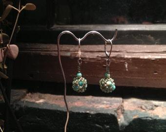 Earrings: Sea green, blue and cream beaded