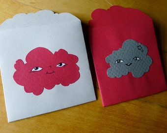 2 red handdrawn art Cloud lovenotes - drawings on 100% upcycled vintage gourmet paper