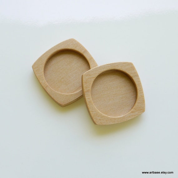 Pendant Tray - Brooch Blank - Wood Bezel - Handmade by ArtBASE - Pendant Setting - Maple - 1 Inch - 25.5 mm - Circle - (F2-Mp) - Set of 2