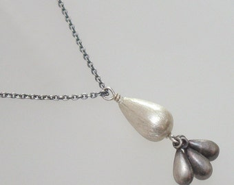 Sterling Silver Drop Necklace Charm Pendant DJStrang Chain Blackened Silver Drops Boho Chic