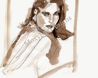 "Sophisticated Woman Portrait  ""Look of Love"" Limited Edition Print  from Original Drawing FREE US Shipping"