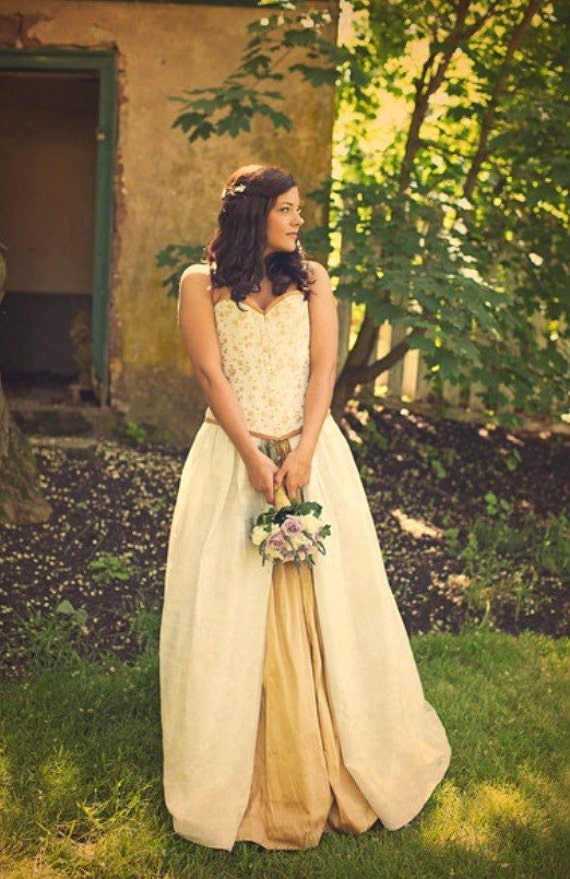 Victorian Wedding Gown - Gold and Ivory- Fairytale Wedding Dress- Corset and Skirt