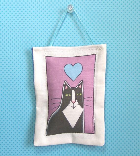 Cat Art Lavender Sachet Ornament/ Tuxedo Kitty