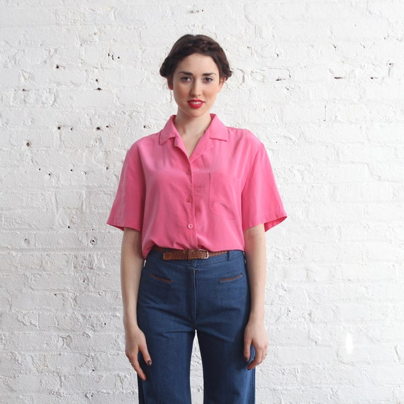 silk utility blouse / 80s bubblegum pink top / pink button up (s-m)