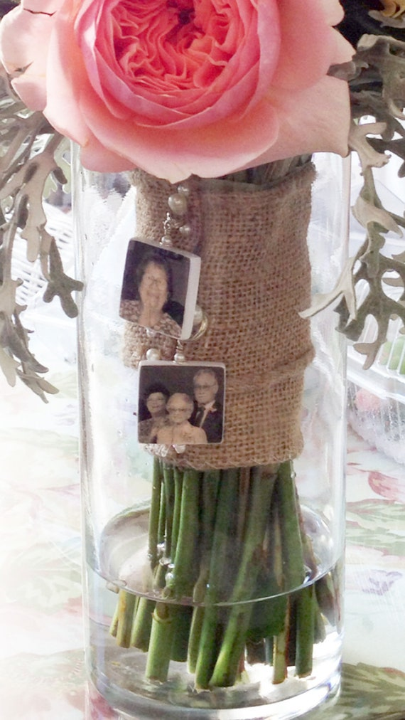 2 Medium Memorial Photo Charms - Custom Bouquet Jewelry Charms - BC2x2