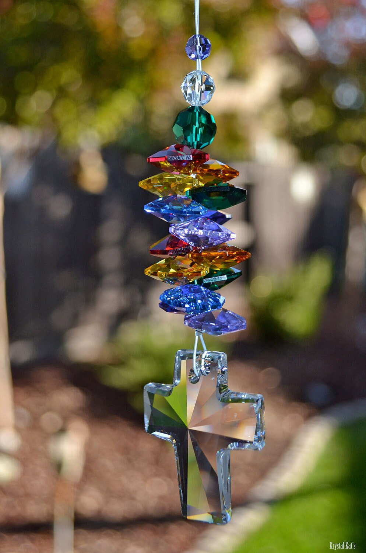 Beaded Crystal Cross Suncatcher Magical Dancing Double Rainbow