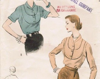 1950s Vogue 7978 Vintage Sewing Pattern Misses' Blouses Size 14 Bust 32