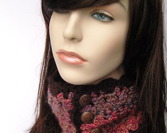 Women's Cowl Women's Neckwarmer Pink Cowl Purple Boho Scarf Boho Cowl Womens Cowl Womens Scarf Winter Scarf Pink Scarf - MADE TO ORDER