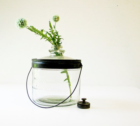 Reserved for the fabulous Marianne - Vintage Glass Jar With Metal Handle and Metal Lid