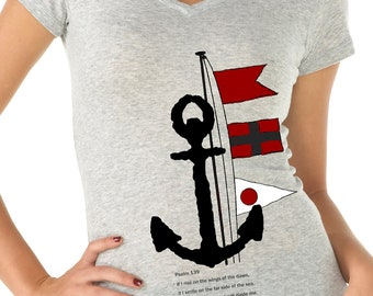 womens shirts - Christian shirt - Bible shirt - nautical shirt  - Jesus shirt - Bible verse - Christian gifts - anchor-PSALM 139-sport vneck