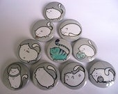 Fat Cat Button Set - All Ten Buttons