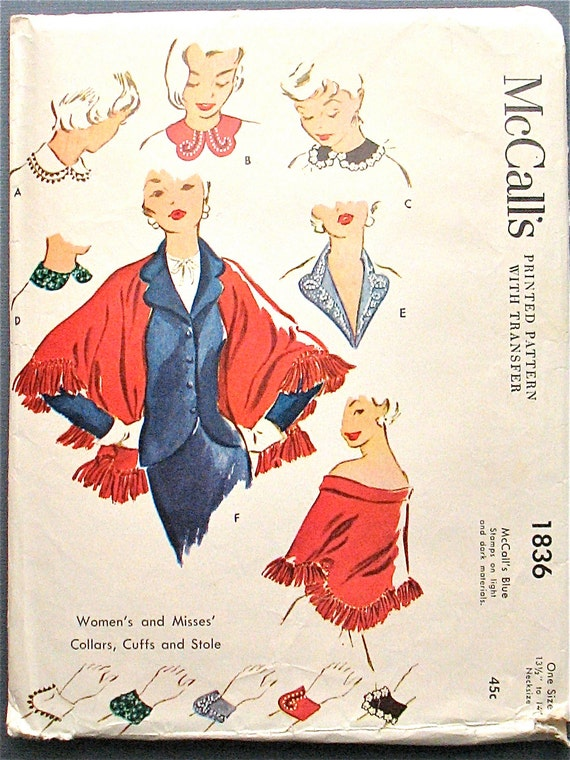 Vintage 1950s McCalls 1836 sewing pattern.  Collars, Cuffs, Stole.  One Size.