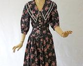 Vintage 70s Romantic Dress Black Floral Cotton Print Day Dress by Eber Size 9