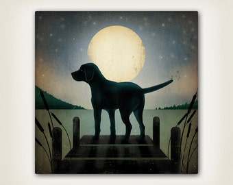 Personalized Moonrise Dock Dog  Stretched Canvas Wall Art Signed Ready to Hang