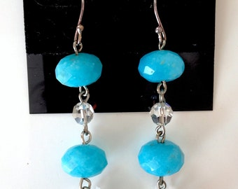 SALE... Striking Sterling 925 Faceted Turquoise and Swarovski Crystal Dangling Long Earrings