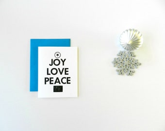 Bulk 25 Christmas Cards, Holiday Greeting Cards, Joy Love Peace, Modern Christmas Tree Design, Black and White Typography, Teal, Set of 25