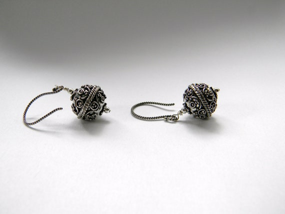 Etruscan sterling silver earrings earwires twisted swirl aged oxidized gift for her. Made in Maine. Ornate. Fancy beadwork