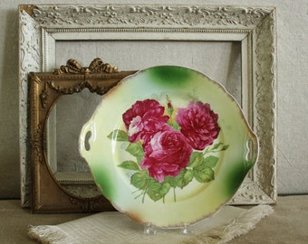Vintage German Hand Painted Roses Platter   Sale was 48.00