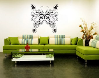 Vinyl Wall Decal Sticker Floral Design Butterfly 1012s