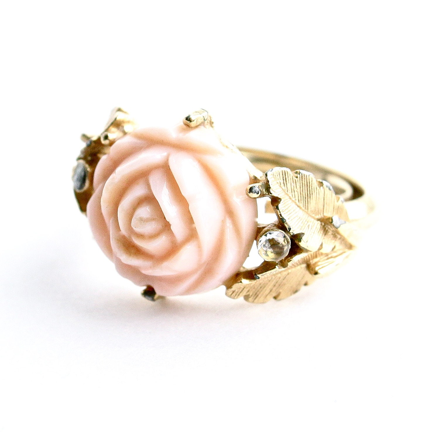 Vintage Rose Ring Gold Tone Signed Avon 1970s Romantic