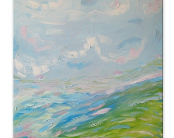 Foggy morning - Impasto painting Bright artwork Intuitive art Expressive art Square artwork Pastoral painting Impressionistic Relax painting