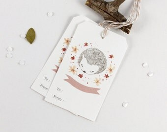 10 Gift Tags - Hedgehog