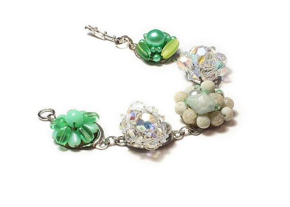 Vintage jewelry recycled,  Cloverfield,