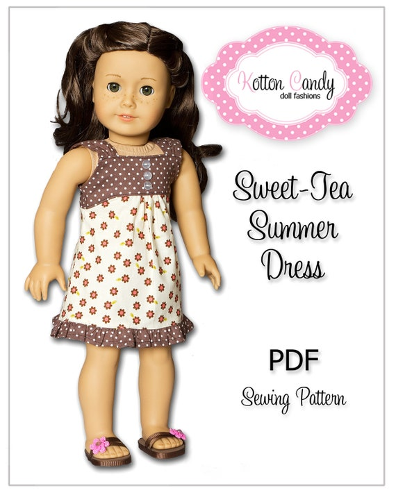 PDF Sewing Pattern for 18 Inch American Girl Doll Clothes - Sweet-Tea Summer Dress ePattern