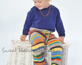 Childrens Girls Boys hand knitted hippie wool pants trousers Multicolor Stripes Blu, green Yellow, brown - toddler baby 0-24 months 2-3-4-5T