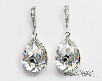 Clear Crystal Teardrop Bridal Earrings Swarovski Rhinestone Silver Cz Dangle Earrings Sparkly Wedding Earrings Bridesmaid Crystal Jewelry